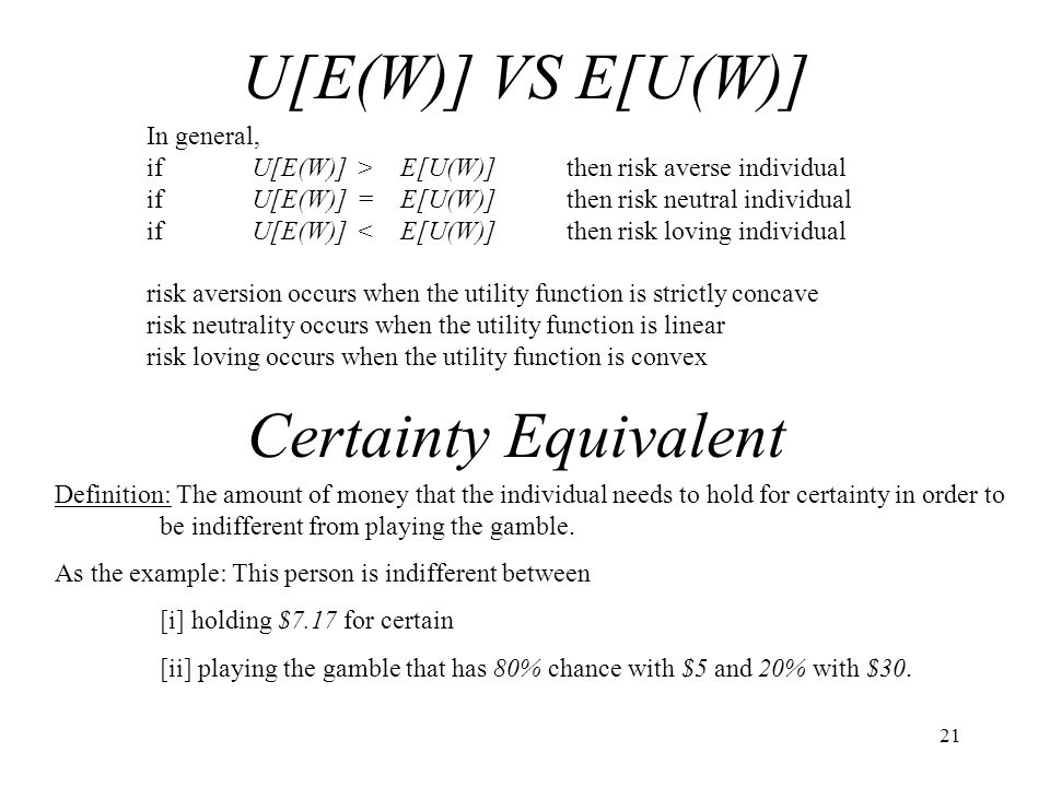 U[E(W)] VS E[U(W)] Certainty Equivalent In general,